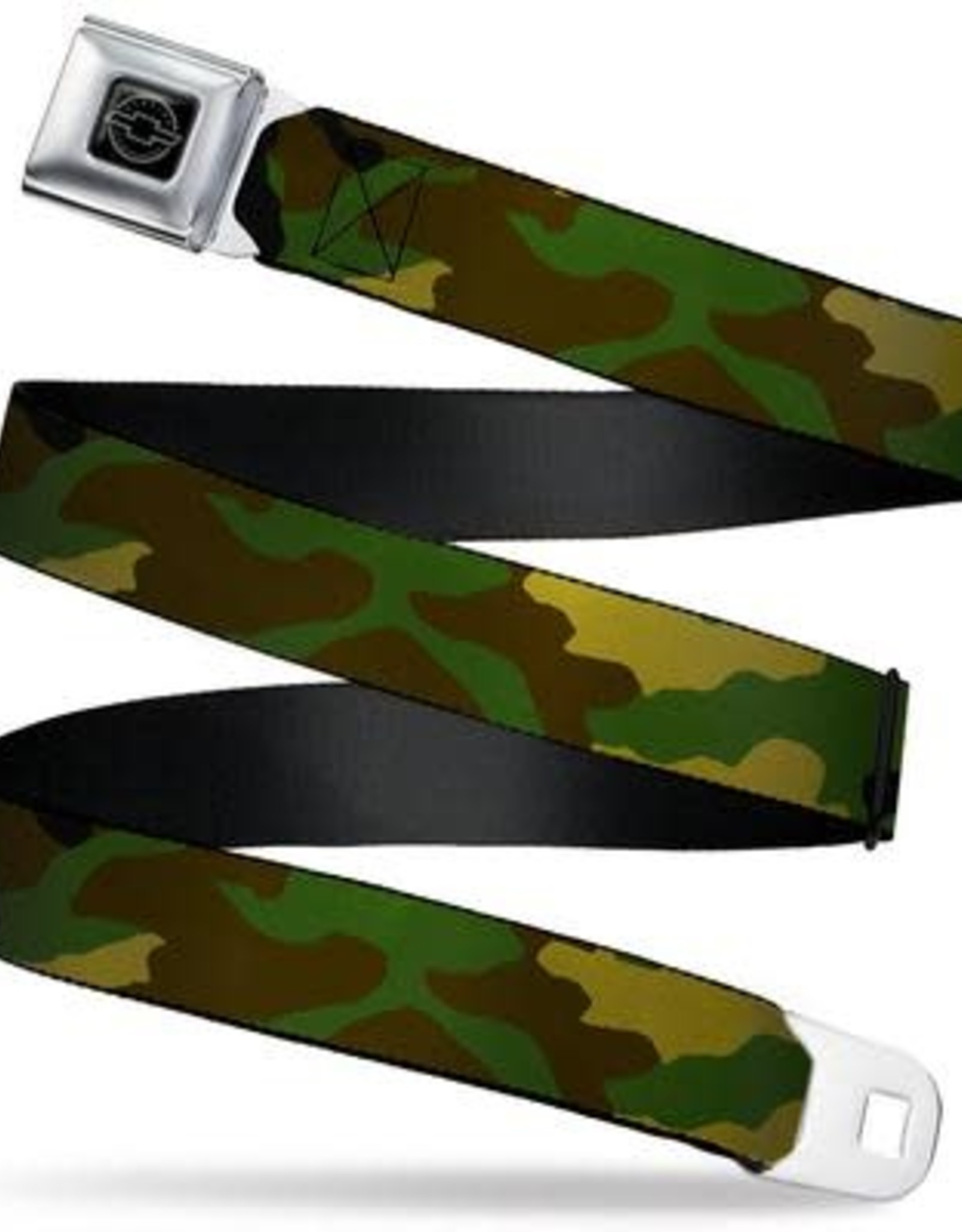 Buckle Down Belts Chevy Seatbelt Belt with Camo Olive Webbing