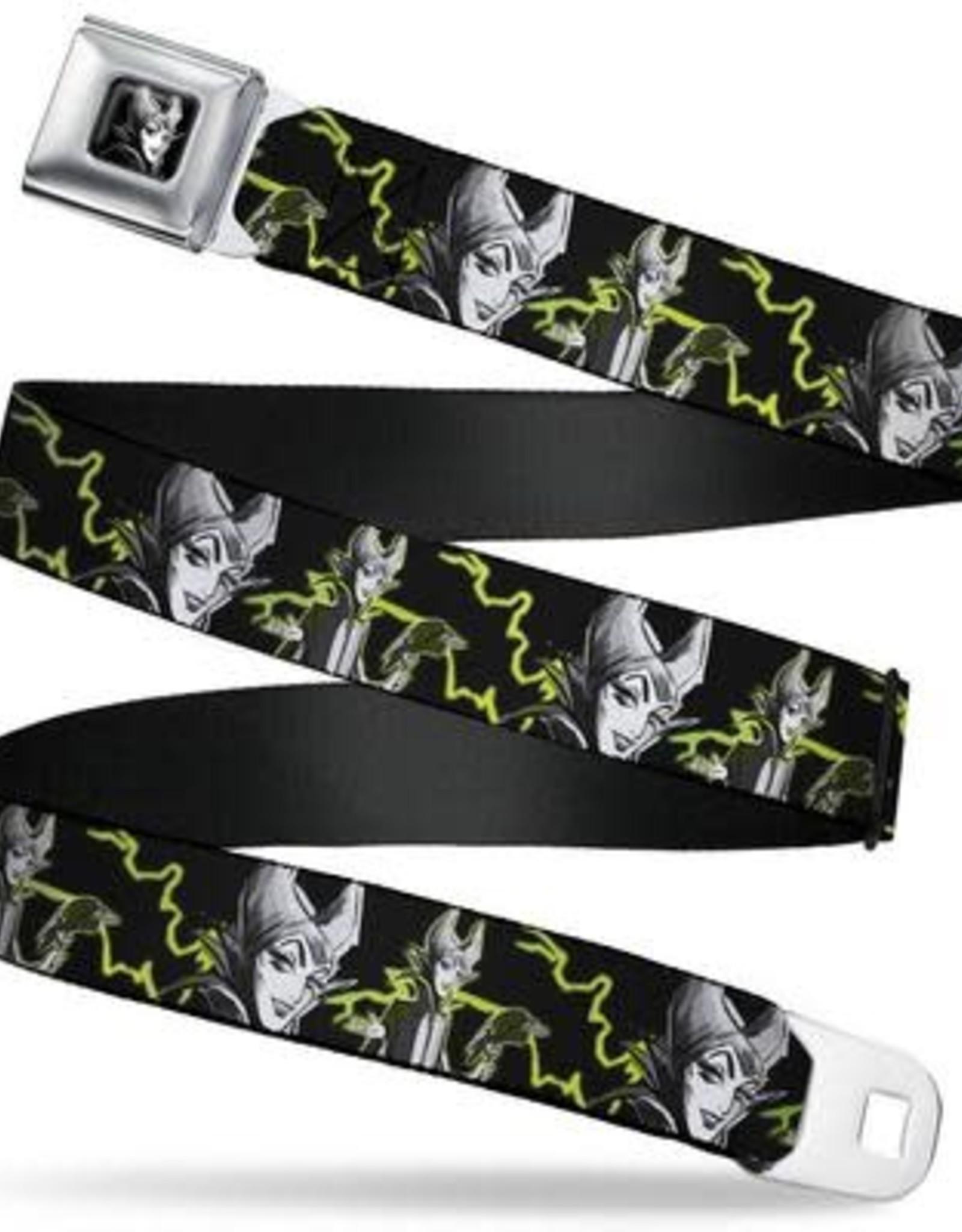 Buckle Down Belts Maleficent Seatbelt Belt with Lightning Bolts