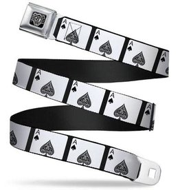 Buckle Down Belts Starburst Seatbelt Belt - Ace of Spades Webbing