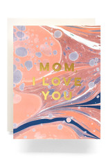 Mom I love You Marblized Greeting Card - Antiquaria