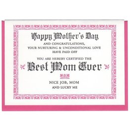 Best Mom Ever Certificate Mother's Day Greeting Card - A Favorite Design