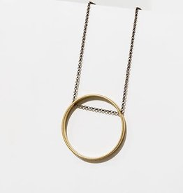 Larissa Loden Small Brass Circle Horizon Necklace - Larissa Loden