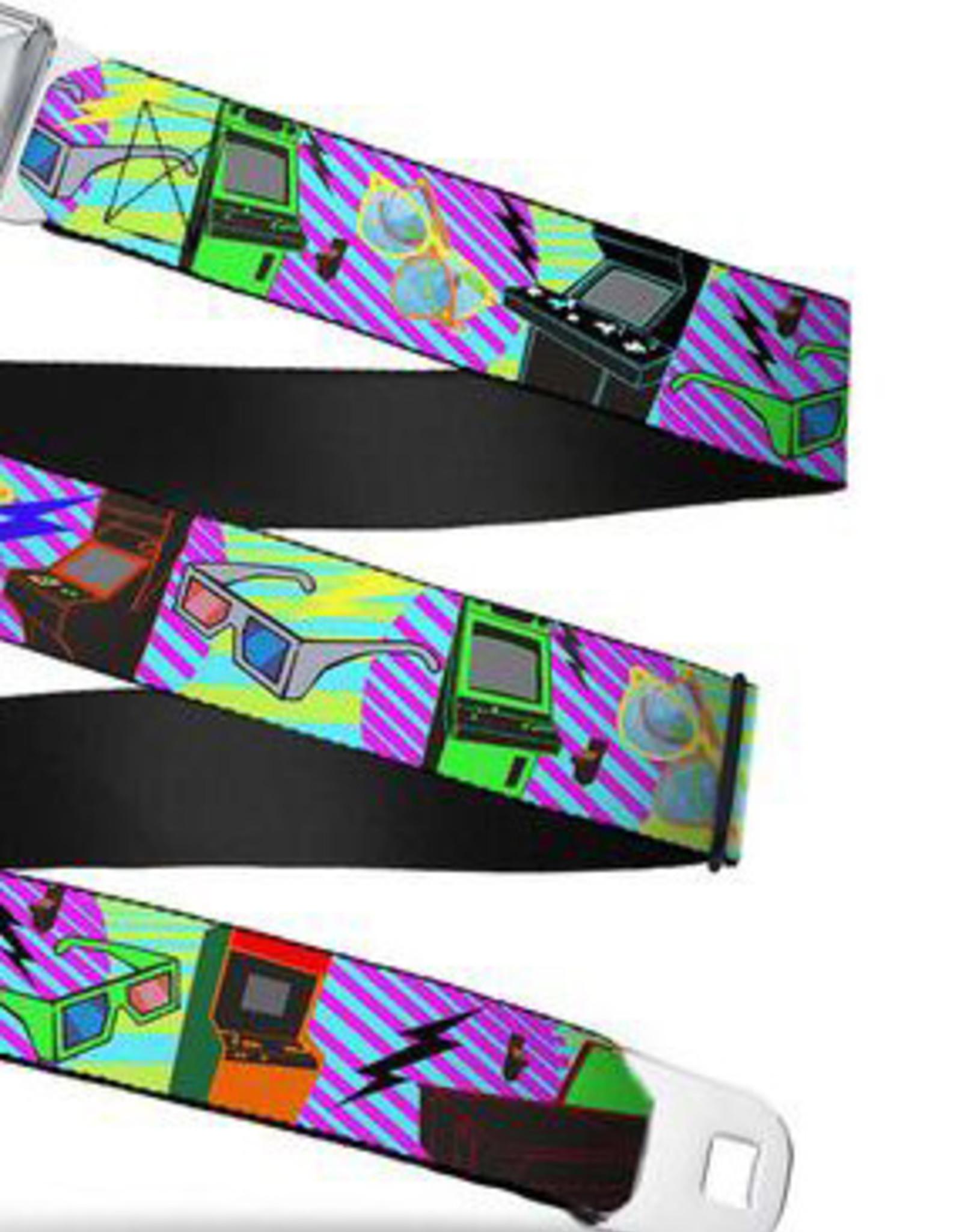 Buckle Down Belts Starburst Seatbelt Belt - Eighties Arcade Multi Neon Stripes Webbing