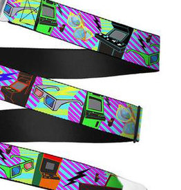 Buckle Down Belts Starburst Seatbelt Belt - Eighties Arcade Multi Neon Stripes Webbing