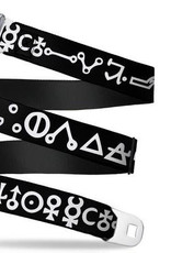 Buckle Down Belts Starburst Seatbelt Belt - Alchemy Symbols Black/White Webbing