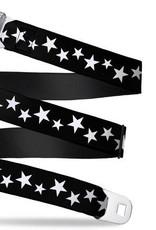 Buckle Down Belts Starburst Seatbelt Belt - Multi Stars Black/White Webbing