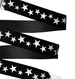 Buckle Down Belts Starburst Seatbelt Belt - Multi Stars Black/White Webbing