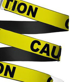 Buckle Down Belts Starburst Seatbelt Belt - Caution Tape Yellow/Black Webbing