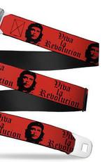 Buckle Down Belts Starburst Seatbelt Belt - Che Guevara Red/Black Webbing
