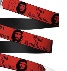 Buckle Down Belts Starburst Seatbelt Belt - Che Red/Black Webbing