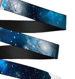 Buckle Down Belts Starburst Seatbelt Belt - Galaxy Blues/Blues Webbing