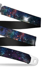 Buckle Down Belts Starburst Seatbelt Belt - Galaxy Collage Webbing