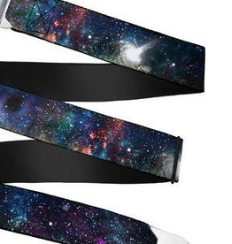 Buckle Down Belts Starburst Seatbelt Belt - Galaxy Collage Webbing