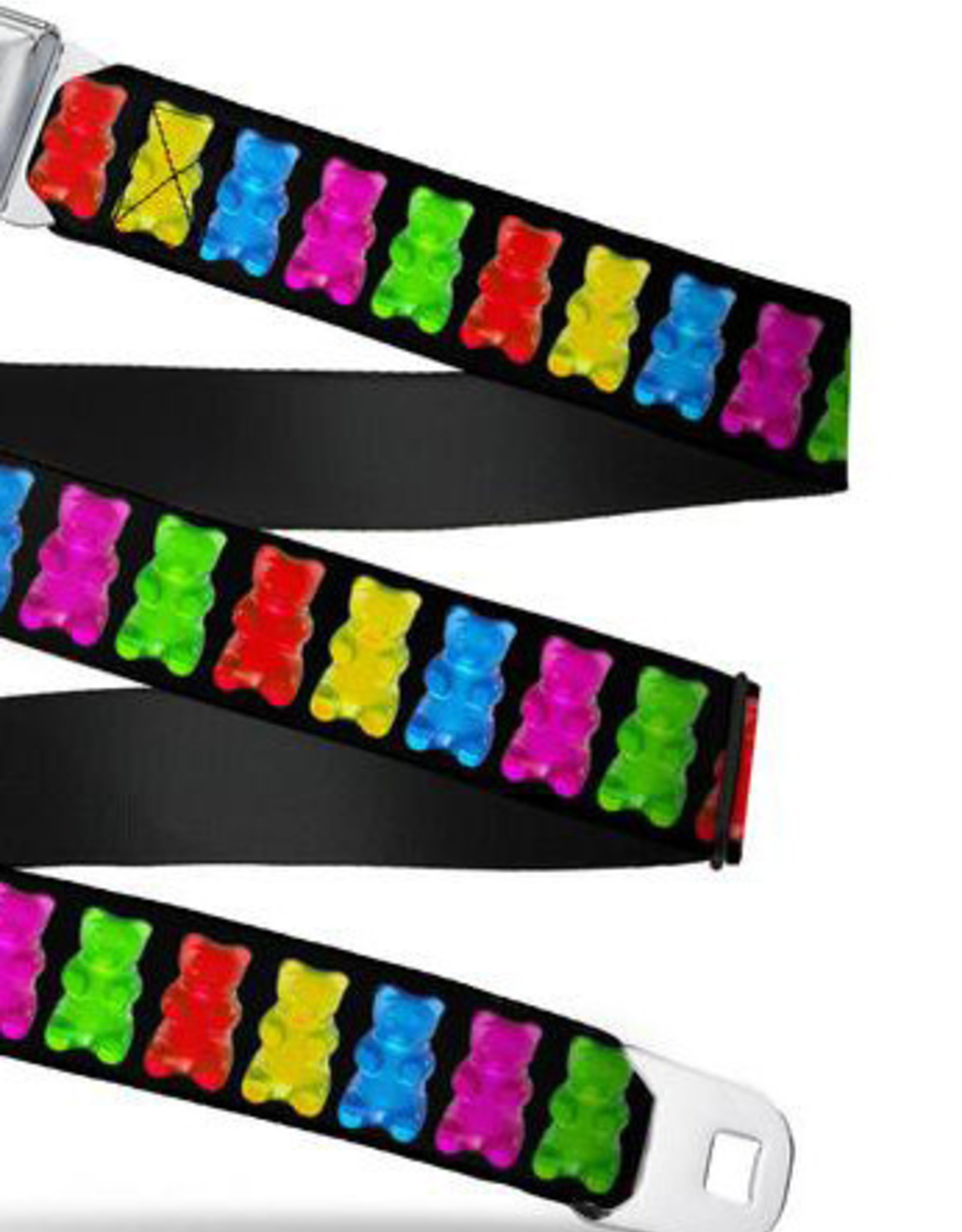 Buckle Down Belts Starburst Seatbelt Belt - Gummy Bears Black/Multi Color Webbing