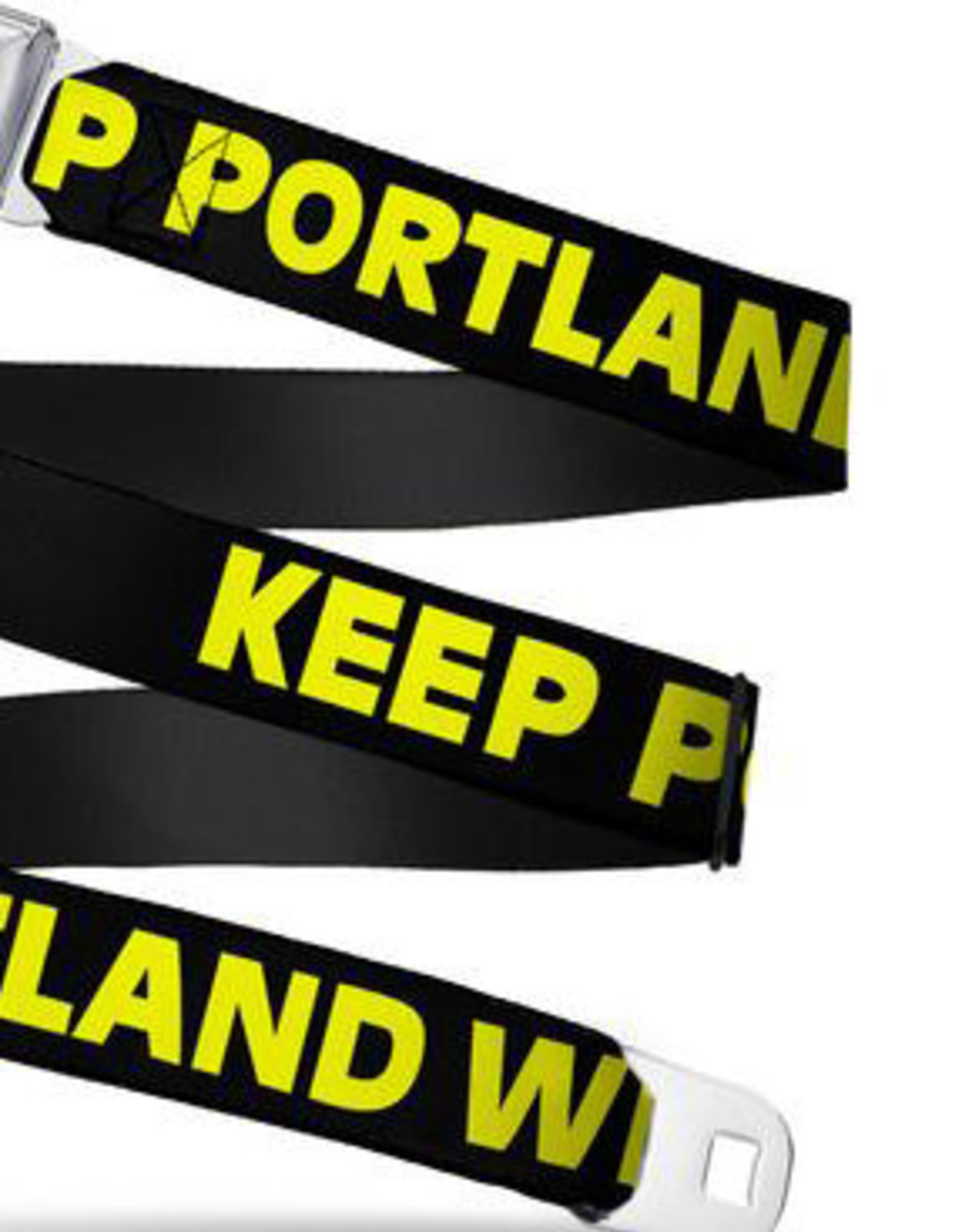 Buckle Down Belts Starburst Seatbelt Belt - KEEP PORTLAND WEIRD Black/Yellow Webbing