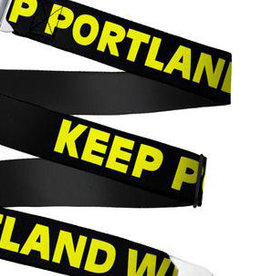 Buckle Down Belts Starburst Seatbelt Belt - KEEP PORTLAND WEIRD Black/Yellow Webbing
