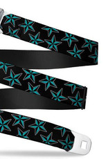 Buckle Down Belts Starburst Seatbelt Belt - Nautical Stars Scattered Black/Turquoise Webbing