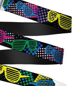 Buckle Down Belts Starburst Seatbelt Belt - Eighties Shades Black/Neon Webbing