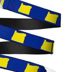 Buckle Down Belts Starburst Seatbelt Belt - Oregon State Silhouette Blue/Yellow Webbing
