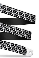 Buckle Down Belts Starburst Seatbelt Belt - Paw Print Black/White Webbing