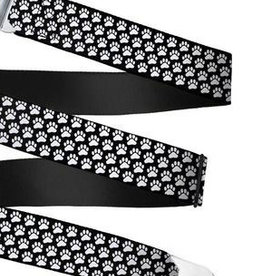 Buckle Down Belts Starburst Seatbelt Belt - Paw Print Black/White Webbing
