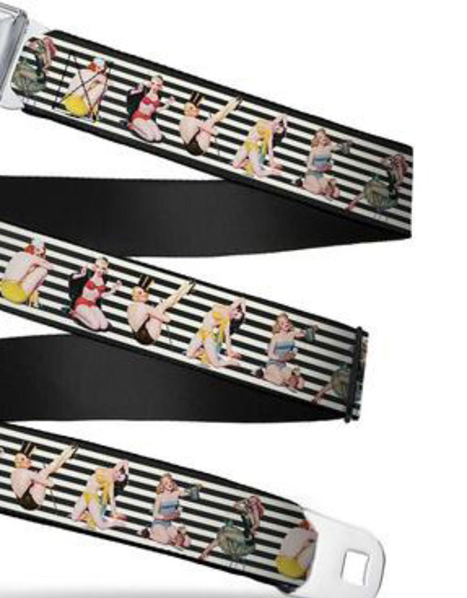 Buckle Down Belts Starburst Seatbelt Belt - Pin Up Girl Poses Stripe Black/White Webbing