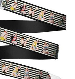 Buckle Down Belts Starburst Seatbelt Belt - Pin Up Girl Poses Stripe Black/White Webbing