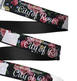 Buckle Down Belts Starburst Seatbelt Belt - Oregon Silhouette/PORTLAND OREGON-CITY OF ROSES Roses/White Webbing