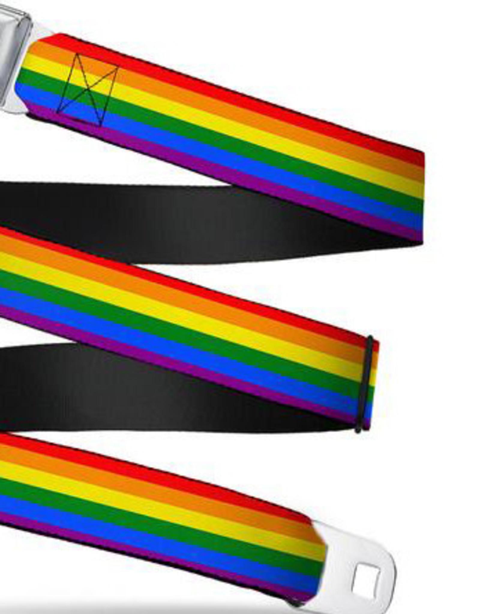 Buckle Down Belts Starburst Seatbelt Belt - Rainbow Webbing