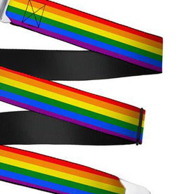 Buckle Down Belts Starburst Seatbelt Belt - Rainbow Webbing