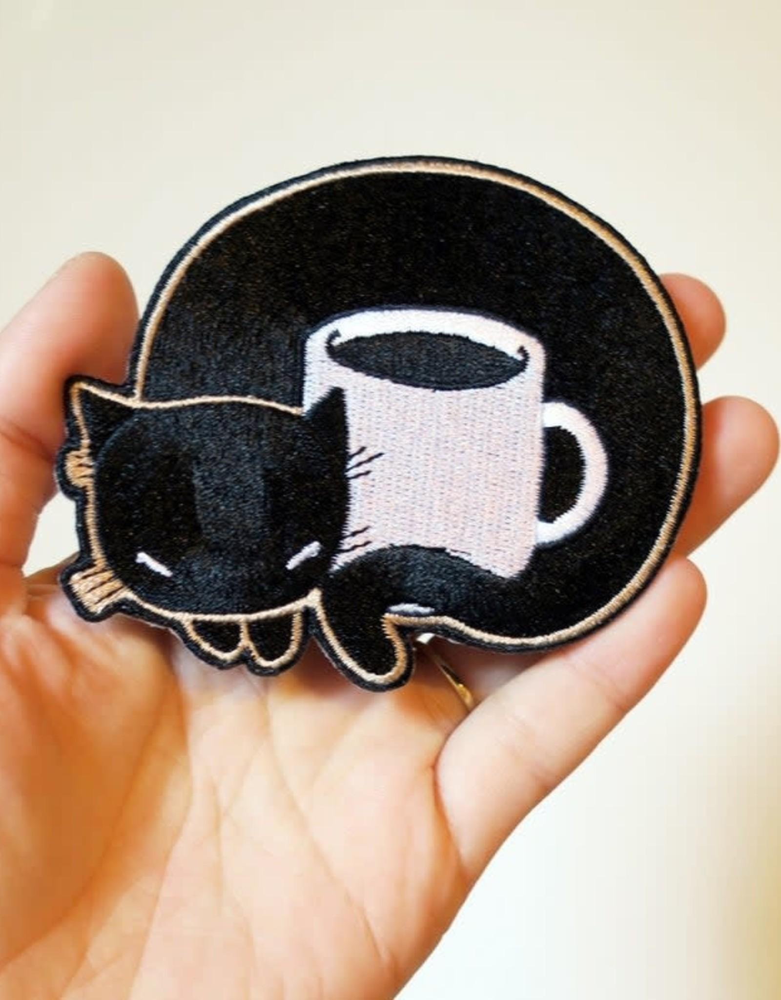 Stasia Burrington Black Coffee Cat Iron on Patch by Stasia Burrington