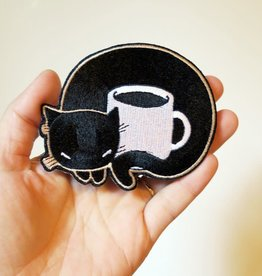 Stasia Burrington Black Coffee Cat Iron on Patch by Stasia Burrington
