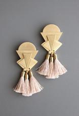 David Aubrey Statement Brass Deco Post Earrings with Silk Tassels - David Aubrey