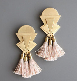 David Aubrey Statement Brass Deco Post Earrings with Silk Tassels - David Aubrey