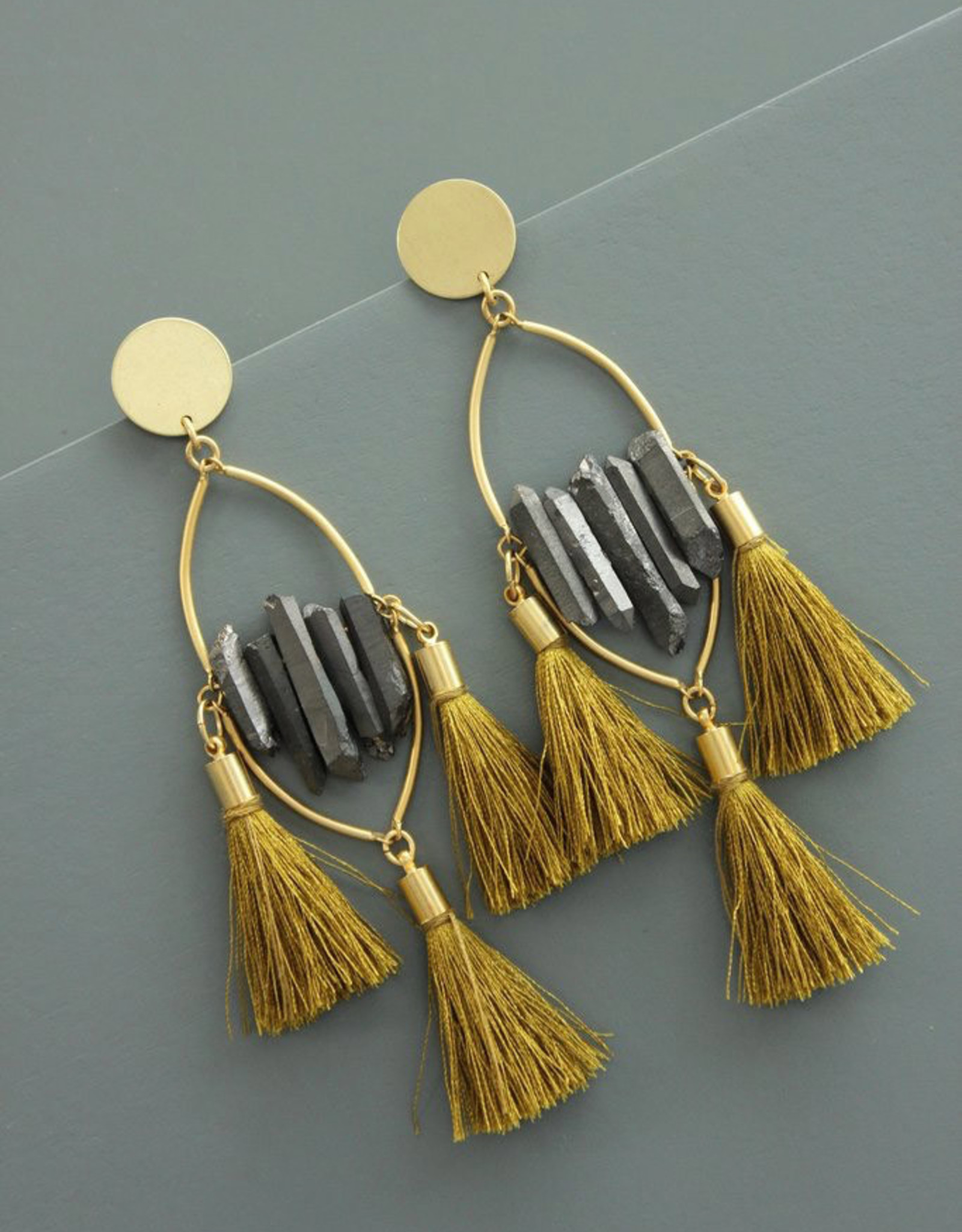 David Aubrey Statement Post Earrings , Slate Crystals with Gold Tassels - David Aubrey