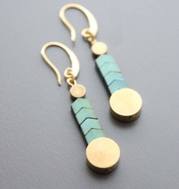 David Aubrey Turquoise Chevron Earrings with Gold Circle Accents - David Aubrey
