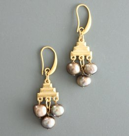 David Aubrey Gold Pyramid with 3 Fresh Water Pearls - David Aubrey