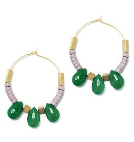 David Aubrey Green Jade Teardrop Hoop Earrings - David Aubrey