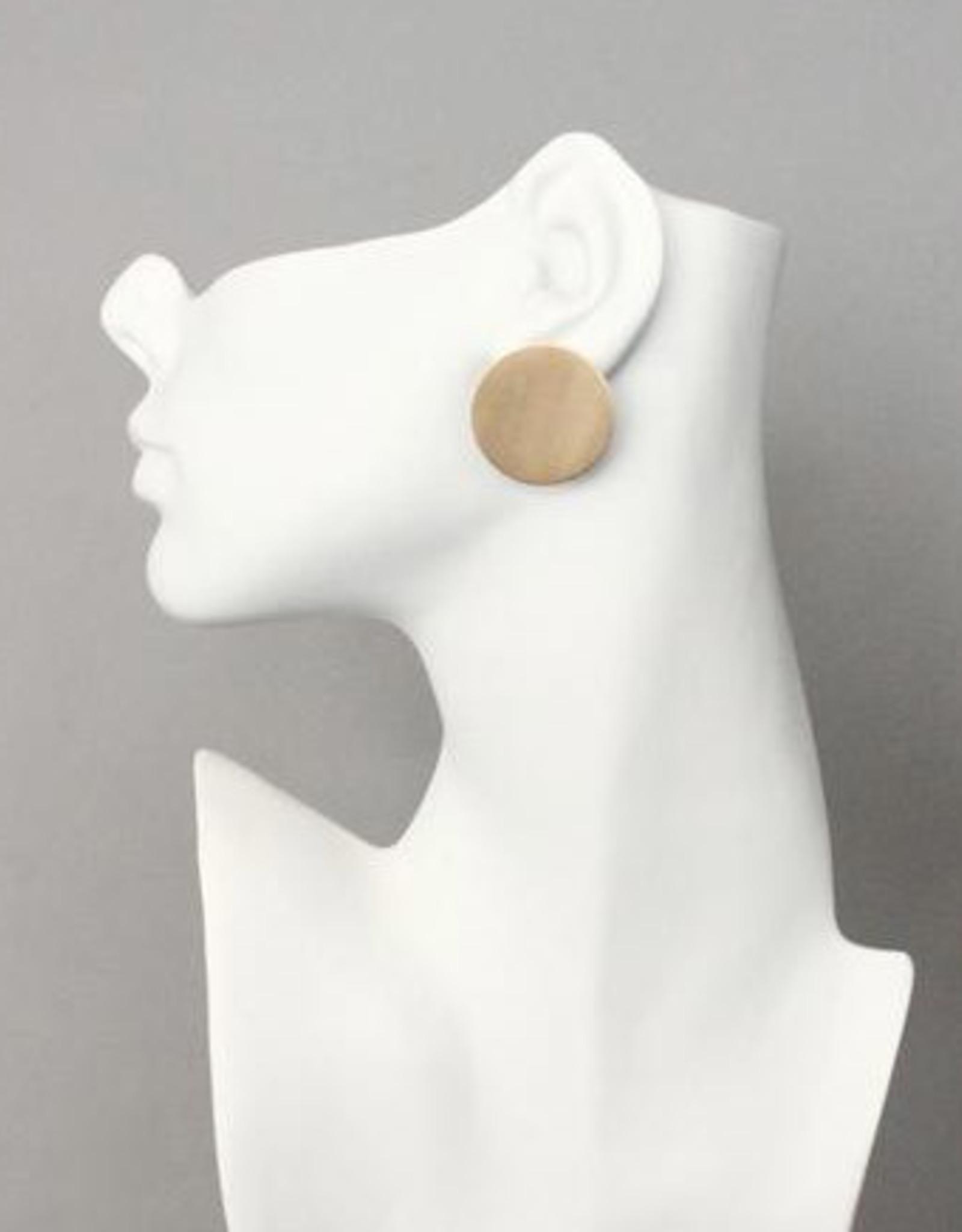 David Aubrey Brushed Brass Circle Post Earrings - David Aubrey