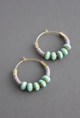David Aubrey Gold Hoop Earrings with Mint Blue Glass, Lavender + Brass Beads -  David Aubrey
