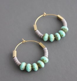 David Aubrey Gold Hoop Earrings with Mint Blue Glass, Lavender + Brass Beads -  David Aubrey