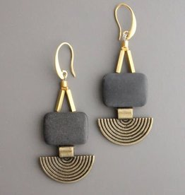 David Aubrey Deco Brass and Gray Stone Bead Earrings - David Aubrey