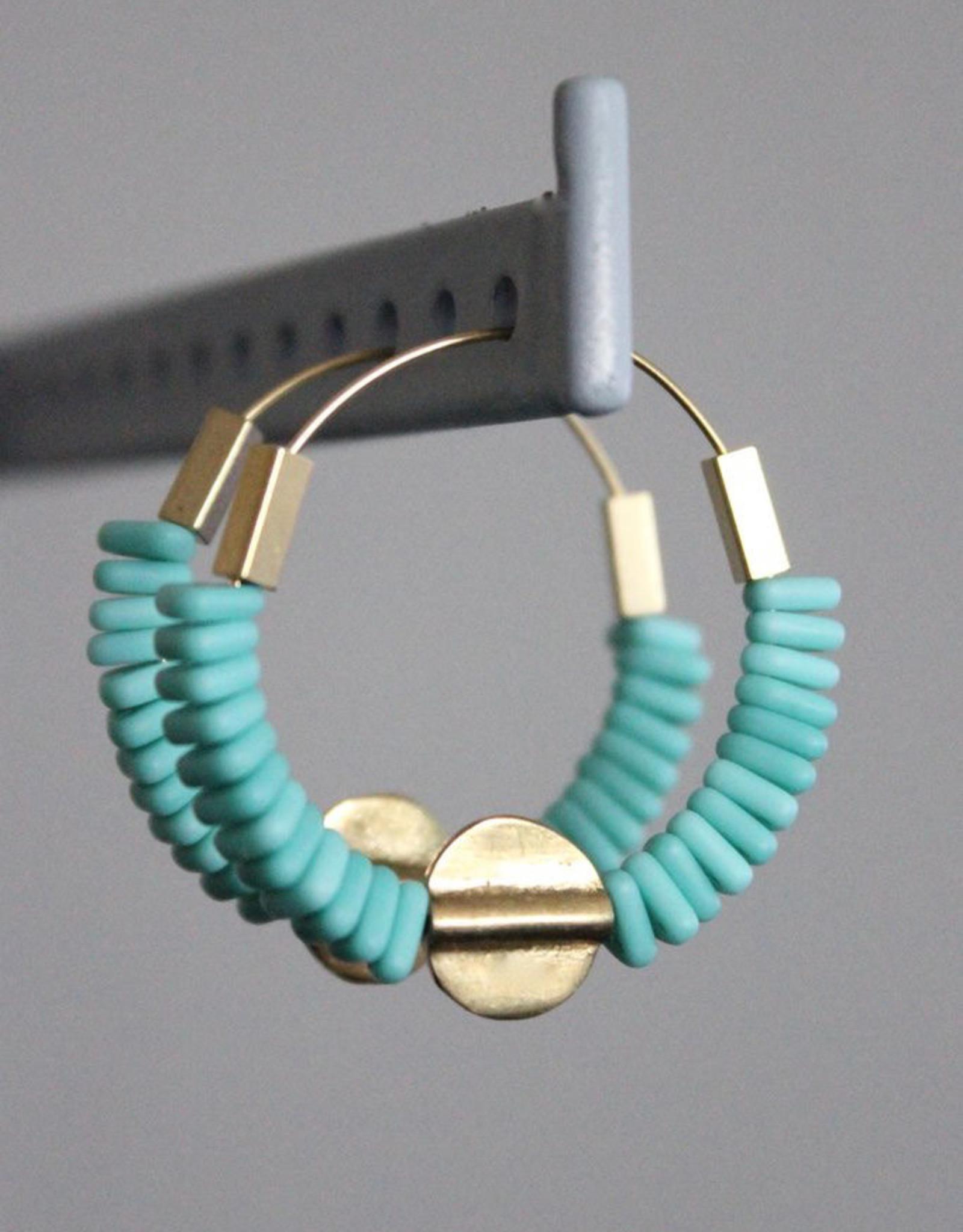 David Aubrey Gold Hoop Earrings with Turquoise Czech + Brass Beads - David Aubrey