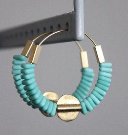 David Aubrey Gold Hoop Earrings with Turquoise Czech + Brass Beads - David Aubrey