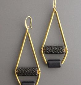 David Aubrey Long Brass Tube Earrings with Black Magnesite Beads - David Aubrey