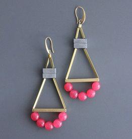David Aubrey Long Brass Earrings with Pink Jade + Hematite Beads - David Aubrey