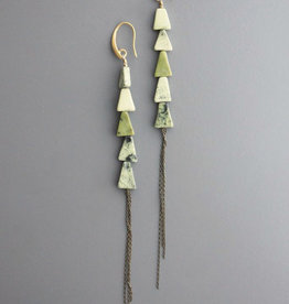 David Aubrey Long Earrings with Yellow Turquoise Triangles and Chain Dangle - David Aubrey