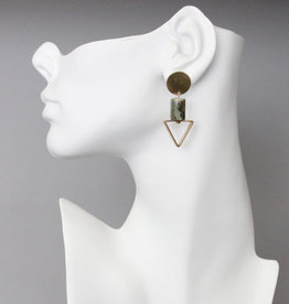 David Aubrey Brass Circle Post Earrings with Jasper Stone + Triangle Drop - David Aubrey