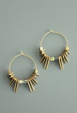 David Aubrey Flat Triangle Spiky Bead- Gold plated Hoop Earrings - David Aubrey