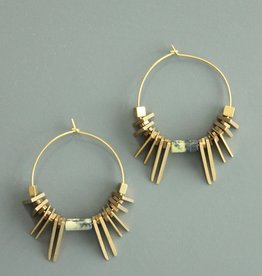 David Aubrey Flat Triangle Spiky Bead- Gold plated Hoop Earrings - David Aubrey